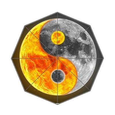 Custom Noir et jaune Motif Yin Yang Parapluie
