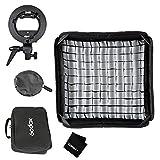 Godox 60x60cm/24x24inch Foldable Grid Softbox + S-Type Bracket Bowens Mount Holder for Studio Photography