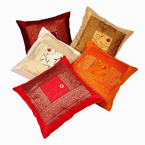 Indian Ethnic Hand Embroidery Decorative Silk Pillow Cushion Cover Set of 5 Pcs Size 16 X 16 Inches (Of Sofa Cushions Types)