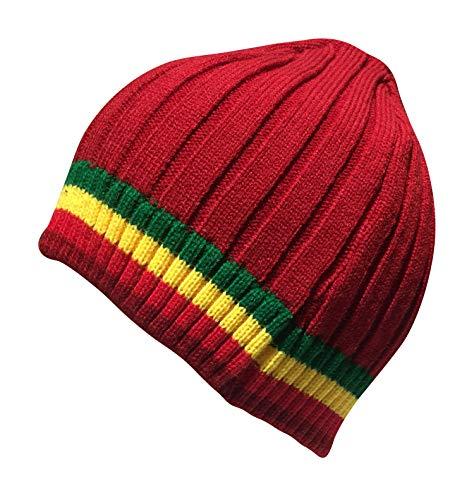 Cable Style Short Rasta Beanie Skull Cap Winter Ski Hat (RYG) (Red RYG) - Rasta Ski