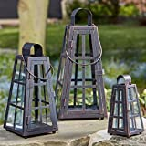 Homezone Set Of 3 Vintage Bronze Effect Shabby Chic Pyramid Hurricane Candle Lanterns Hanging Glass Candle Holder Patio Storm Vase Table Lantern Or Window Centrepiece Indoor Or Outdoor For Votive Pillar And Church Candle