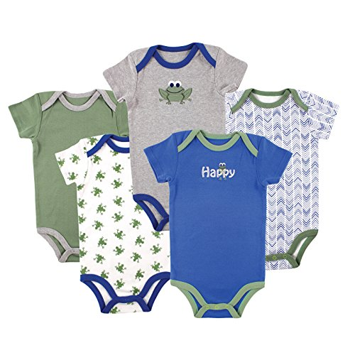 Luvable Friends Boys Bodysuit 5pk Frog (Hanging), 0-3 Months
