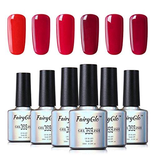 Wine Red UV LED Nail Polish Gel 6pcs Soak Off Nail Art Kit Goregous Manicure Lacquer Varnish Gift Set FairyGlo 10ml 001