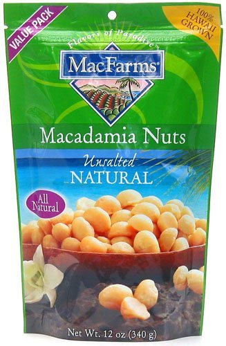 MacFarms Unsalted Natural Macadamia Nuts, 12-Ounce Bag (Pack of 3)