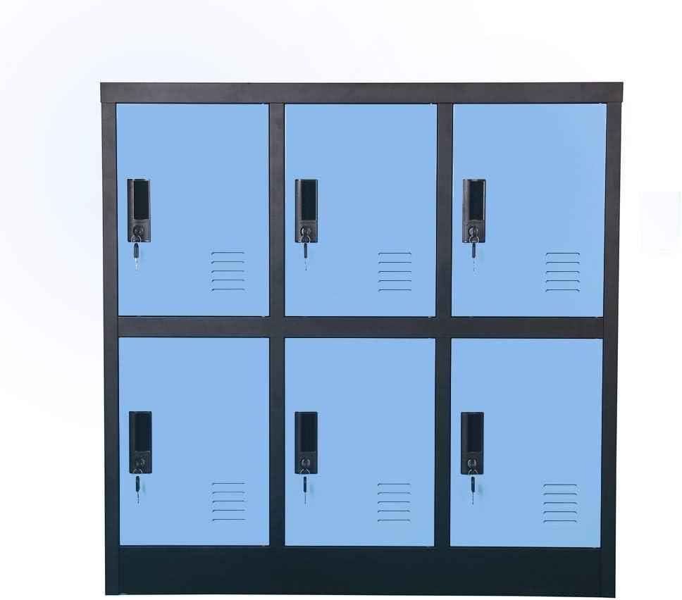 Small Office Storage Locker Cabinet Organizer for Employee,School Locker for Kids Mini Size (Blue, W6D)