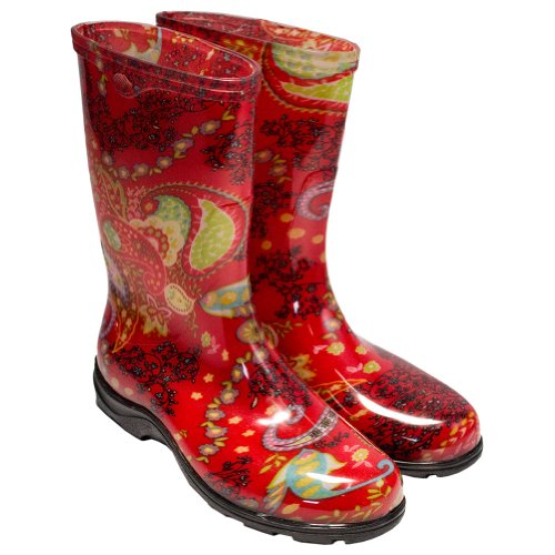 Sloggers Women's Waterproof Garden Boot with Comfort Insole, Paisley Red