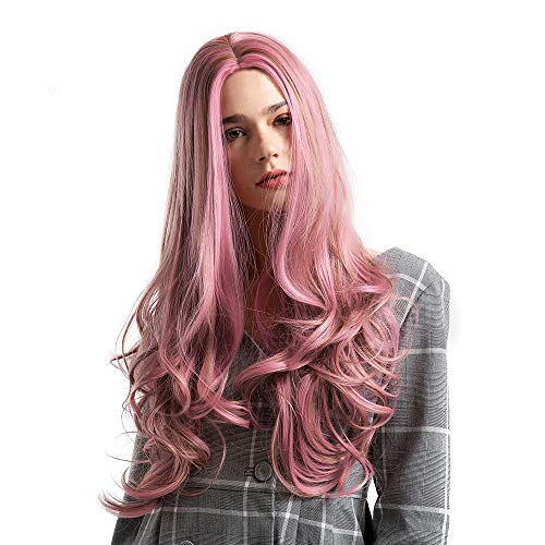 Clearance Sale Costume Wigs,Ketteb Pink Mixed Brown Long Curly For Woman Wig Artificial Hair Wigs+Free Wig -