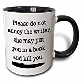 3dRose Please Do Not Annoy The Writer Black - Two Tone Black Mug, 11oz (mug_223960_4), 11 oz, Black/White