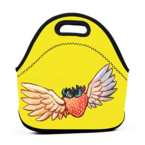 Generic Celeste Strawberry With Wings Insulated Lunch Bag Large Cooler Tote Bags Lunch Organizer Holder Box For Adlut Men Women, Black ()
