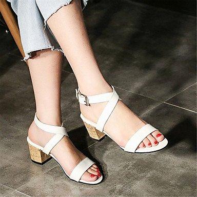 LvYuan Tacón Robusto-Confort Innovador Zapatos del club-Sandalias-Vestido Informal-Semicuero-Marrón Blanco Brown
