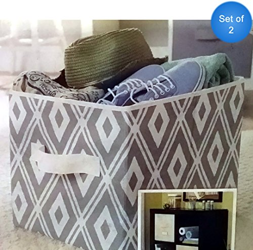UPC 840358100416, Better Homes and Gardens Collapsible Fabric Storage Cube, Set of 2 (Gray Diamonds)