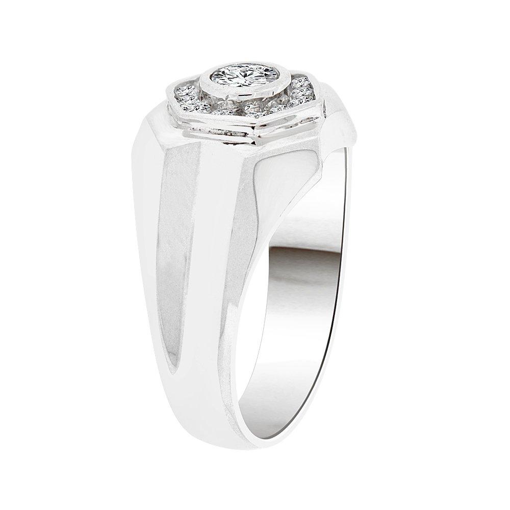 Fancy Ring Men Guy Gent Brilliant Created CZ Stones White Rhodium Plated Metal