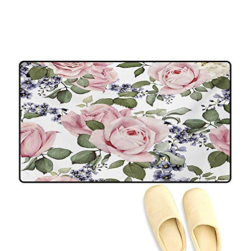 Door Mats,Flourishing Pink Roses with Tender Spring Summer Soulful Blossoms Bridal,Customize Bath Mat with Non Slip Backing,Pale Pink Green Bluegrey,32