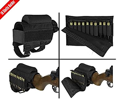 MATE Portable Adjustable Tactical Buttstock Shell Holder Cheek Rest Pouch Holder Pack With Ammo Carrier Case Black - Hold 10 Shells