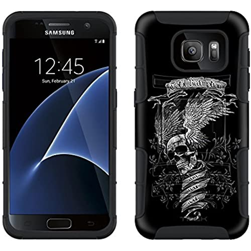 Samsung Galaxy S7 Armor Hybrid Case Skull Wing on Black 2 Piece Case with Holster for Samsung Galaxy S7 Sales