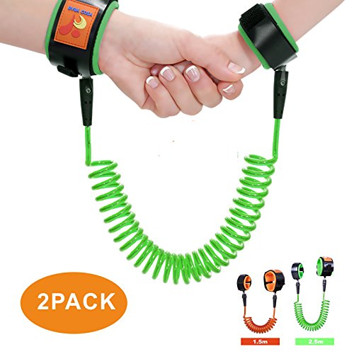 Fanme Child Anti Lost Link Wrist Strips Safety Walking Hands Belt Harness Strap Rope for Kids Baby Toddlers Flexible Safety Velcro Wrist Leash for Shopping Outdoors Travel (2 Pack) (green - Park Place Mall Hours