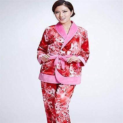 MH-RITA Nuevo Otoño Invierno Mujer Pijama fijar mucho más gruesa franela Camisones Pijamas Pijama