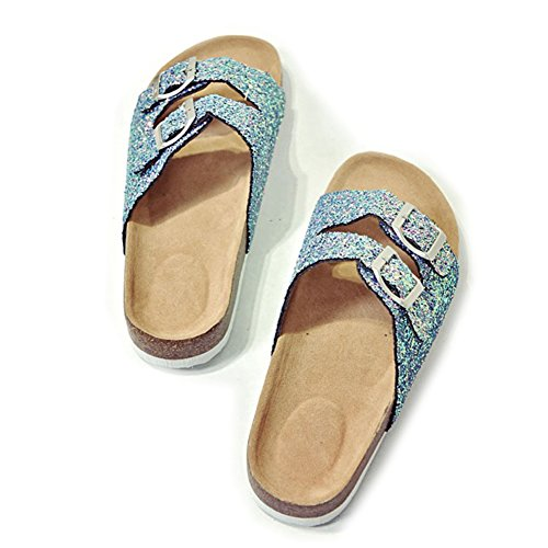 Cork Double Sequins Clogs Buckle ZHOUZJ Slippers Summer Blue Sandals Beach Casual xw0nqtRHf