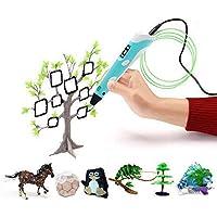 Stylo 3D, stylo d'impression 3D intelligent avec écran OLED et 3 boucles de recharges de filament de 1,75 mm pour créer l'imagination et la capacité pratique des enfants, bleu