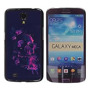rígido protector delgado Shell Prima Delgada Casa Carcasa Funda Case Bandera Cover Armor para Samsung Galaxy Mega 6.3 I9200 SGH-i527 /Neon Rose Pink Skull/ STRONG