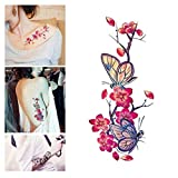 Temporary Tattoo Stickers Cherry Blossom Butterfly Flash Flower Tattoo Sticker Body Art Makeup Waterproof Stickers Arm Shoulders Waist Chest Back Tattoo Stickers for Women Teens Girls Kids (Black)