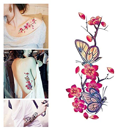 Wffo Flower Temporary Tattoos Stickers Lotus Cherry Blossoms Flash Tattoo Sticker Tattoos Vivid Fake Body Art Printing Stickers for Women Girls Teens Adults