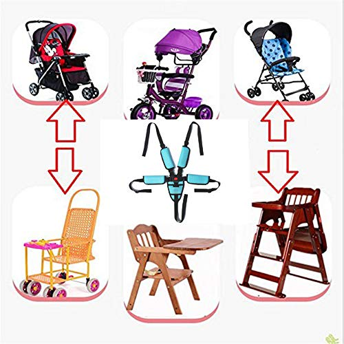 5 Point Harness High Chair Harness,Universal Baby Safe Belt with Soft Breathable Pad Replacement for Stroller Wooden High Chair Pram Buggy Children Kid Pushchair(Sky Blue) High Chair Straps