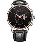 BUREI Men's Day Date Chronograph Sports Watch with Black Leather and Black Dial
