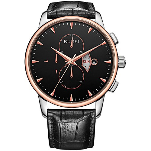 BUREI Men's Day Date Chronograph Sports Watch with Black Leather and Black Dial by BUREI