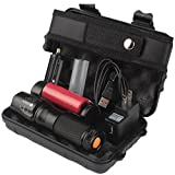 Compia-6000lm Genuine Shadowhawk X800 Tactical Flashlight T6 LED Military Torch kit Rechargeable CCC--Battery charger(US PLUG)+flashlight Nylon Pouch+Usb Line+1x 18650 battery+Box