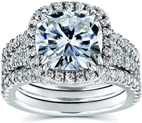 Kobelli Cushion Forever One Moissanite Halo Bridal Rings 4 CTW CTW Platinum (3 Piece Set)