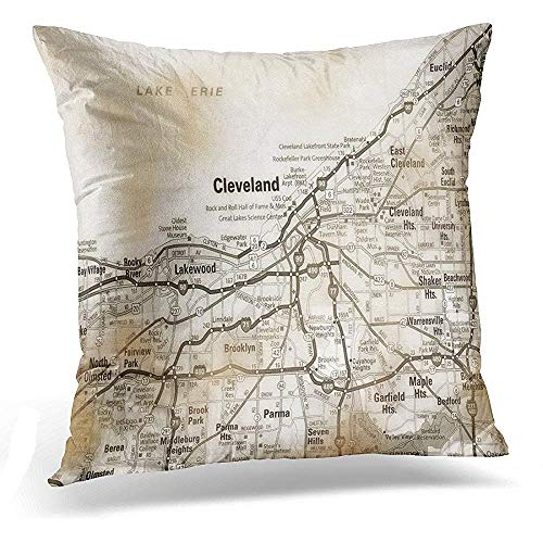 Printed Pillow State Case Ohio - Throw Pillow Cover Red States USA Ohio Cleveland Vintage Style White United Decorative Pillow Case Home Decor Square 18x18 Inches Pillowcase