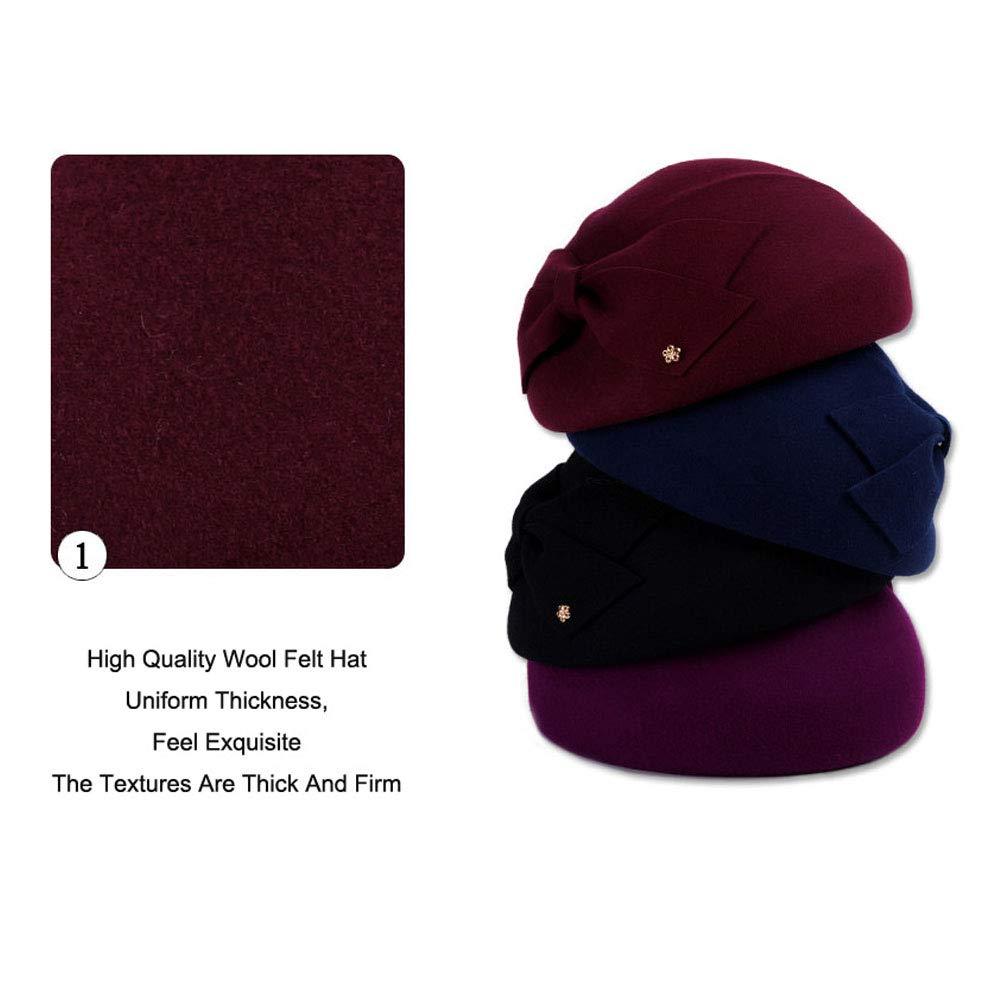 Womens Wool Felt French Berets Bowler Hat Artist Boina Bowknot Cap
