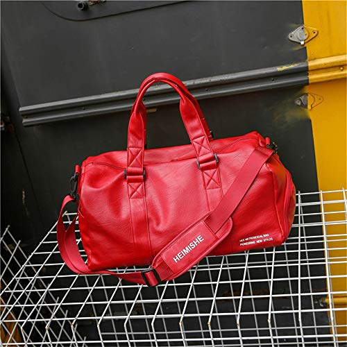 Mens Womens 36-55L Overnight Bag Vintage PU Leather Travel Duffel Bag Waterproof Sports Training Tote Bag (Color : Red, Size : Small)