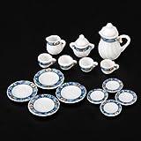 SODIAL (R) 15 pcs casa de munecas en miniatura juego de te de porcelana vajilla plato loza fantastico rompecabezas