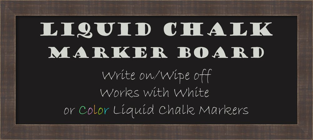 Framed Liquid Chalk Marker Board Panel, Whiskey Brown Rustic: Outer Size 33 x 15''