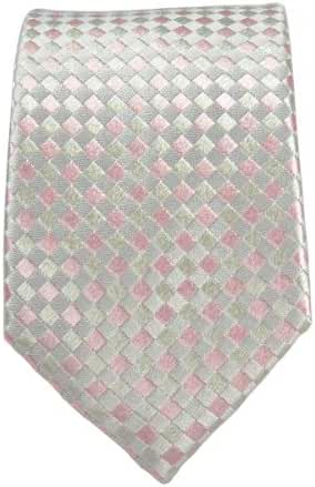 100% Silk Slim Tie by Paul Malone . 2.5' wide . Silver and Pink