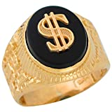 10k Yellow Gold Round Black Onyx Mens Hip Hop Money Dollar Sign Wide Ring