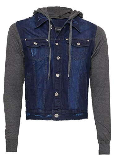 (Genius Club Men's New Quality Stone Washed Denim Jacket W Detachable Hood)