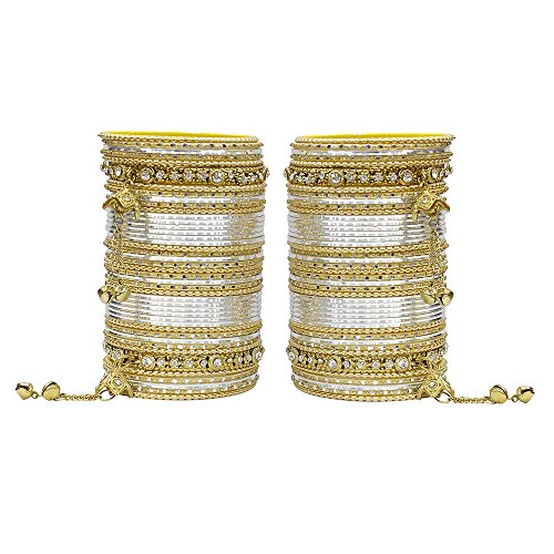 MUCH-MORE 86 Bangles Set of Multi Colour Amazing Collection of Latkhan Bangles Set (Silver, 2.4)