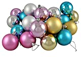 Northlight 24 Count Matte and Shiny Pastel Multicolored Shatterproof Christmas Ball Ornaments, 2.5""