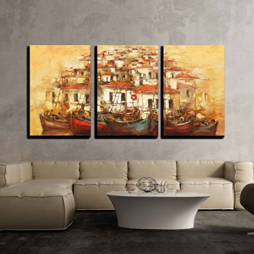 Island Canvas Sunset Outdoor (wall26 - 3 Piece Canvas Wall Art - Boats on the Island Harbor,Handmade Oil Painting on Canvas - Modern Home Decor Stretched and Framed Ready to Hang - 24