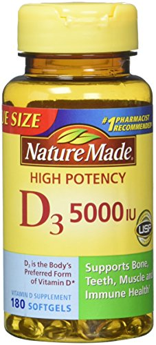 Nature Made Vitamin D3 5000 IU Ultra Strength Softgels Value Size 180 Ct