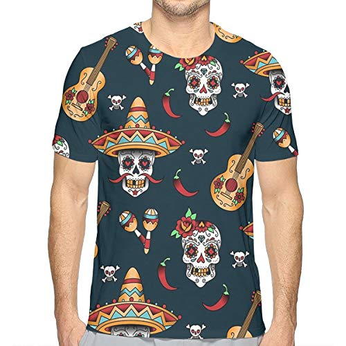 (Hip-Pop Short Sleeve Shirt for Youth & Adult Men Boys, Guitar Pepper Sugar Skull Summer Athletic Beefy T-Shirt, Game Riding Tennis Quick Dry Workwear, Crewneck, Sweatproof)