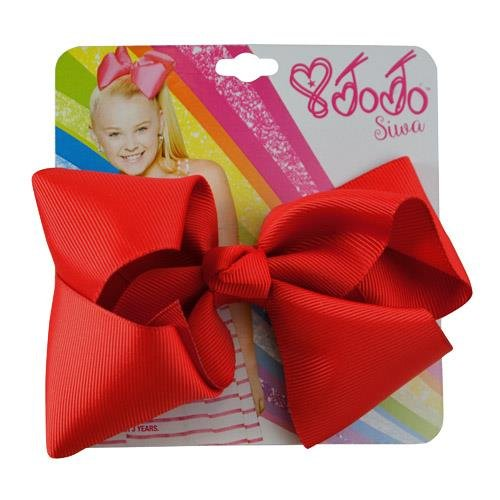 [JoJo Siwa Signature Collection Hair Bow with Rhinestone Keeper Red Basic Bow on Metal Salon Clip] (Salon Girl Costumes)