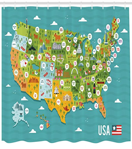 Lunarable USA Shower Curtain, Cartoon Style Map of United States with State Names and Famous Tourist Attractions, Cloth Fabric Bathroom Decor Set with Hooks, 84 inches Extra Long, Multicolor