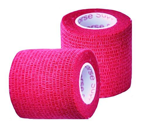 Prairie Horse Supply Vet Wrap Rap Tape, Self Adherent, Adhering Stick Bandage, Self Grip Single Roll - 2 Inches Wide x 15 Feet - Red