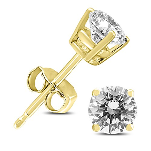 AGS Certified 14K Yellow Gold 3/4 Carat TW Round Diamond Solitaire Stud - Diamond Yellow Solitaire Round