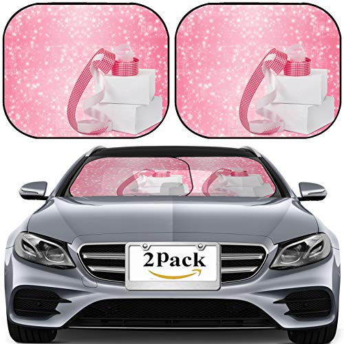 (MSD Car Sun Shade for Windshield Universal Fit 2 Pack Sunshade, Block Sun Glare, UV and Heat, Protect Car Interior, White Boxes with Gifts Pink Ribbons on The Beautiful Abstract Background Imag)