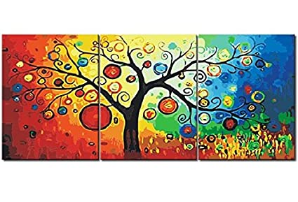 Diy Painting Art Lucky Tree 3 Piece Canvas Art Modern Art Oil Painting On Canvas Wall Art Home Decoration Stretched Pachira 24x72